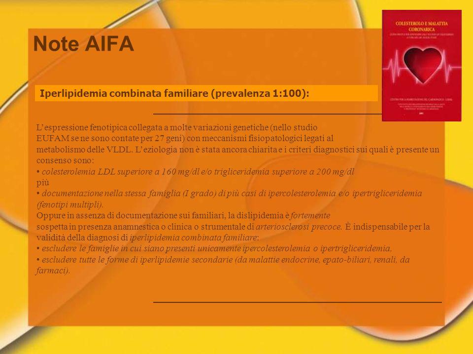 Note AIFA Iperlipidemia combinata familiare (prevalenza 1:100): Lespressione fenotipica collegata a molte variazioni genetiche (nello studio EUFAM se
