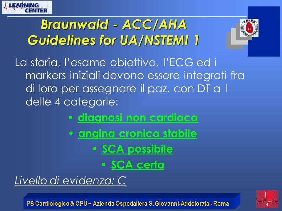 PS Cardiologico & CPU – Azienda Ospedaliera S. Giovanni-Addolorata - Roma Braunwald - ACC/AHA Guidelines for UA/NSTEMI 1 La storia, lesame obiettivo,
