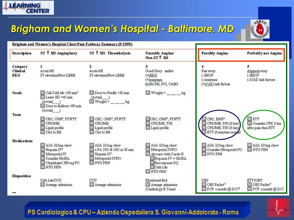 PS Cardiologico & CPU – Azienda Ospedaliera S. Giovanni-Addolorata - Roma Brigham and Womens Hospital - Baltimore, MD