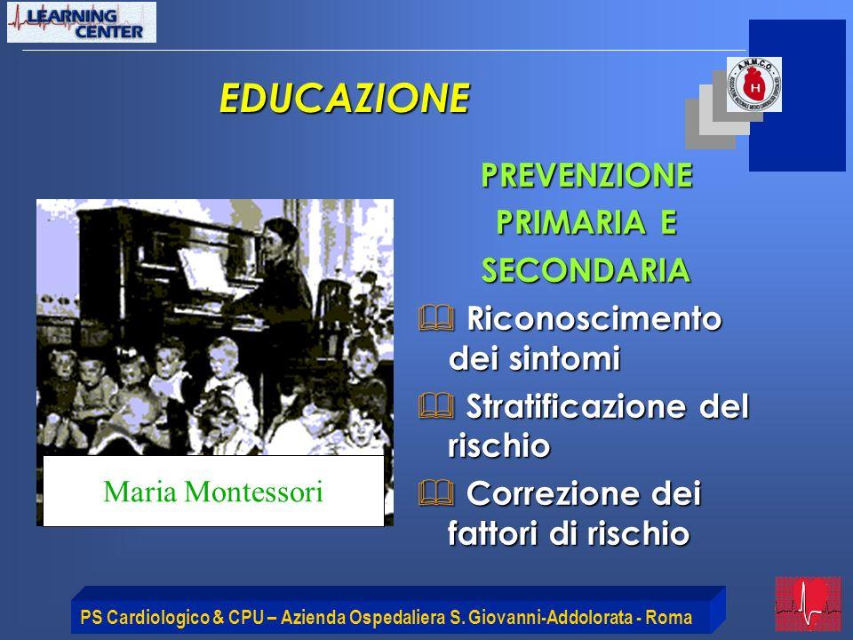 PS Cardiologico & CPU – Azienda Ospedaliera S. Giovanni-Addolorata - Roma PREVENZIONE PRIMARIA E SECONDARIA Riconoscimento dei sintomi Riconoscimento