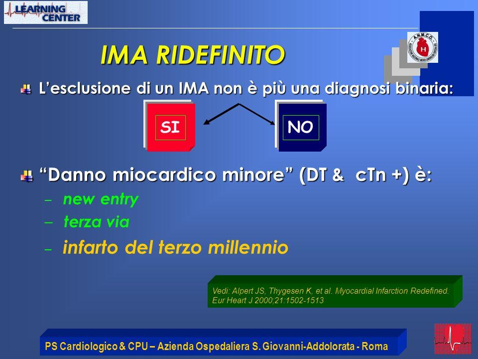 PS Cardiologico & CPU – Azienda Ospedaliera S. Giovanni-Addolorata - Roma IMA RIDEFINITO Lesclusione di un IMA non è più una diagnosi binaria: Danno m