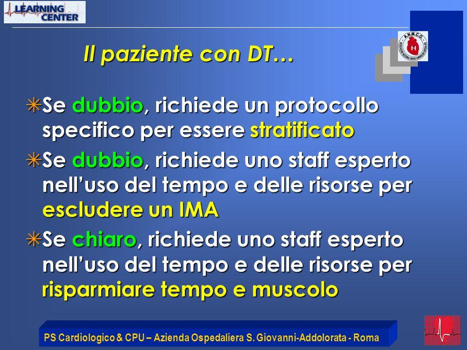 PS Cardiologico & CPU – Azienda Ospedaliera S. Giovanni-Addolorata - Roma Il paziente con DT… Se dubbio, richiede un protocollo specifico per essere s