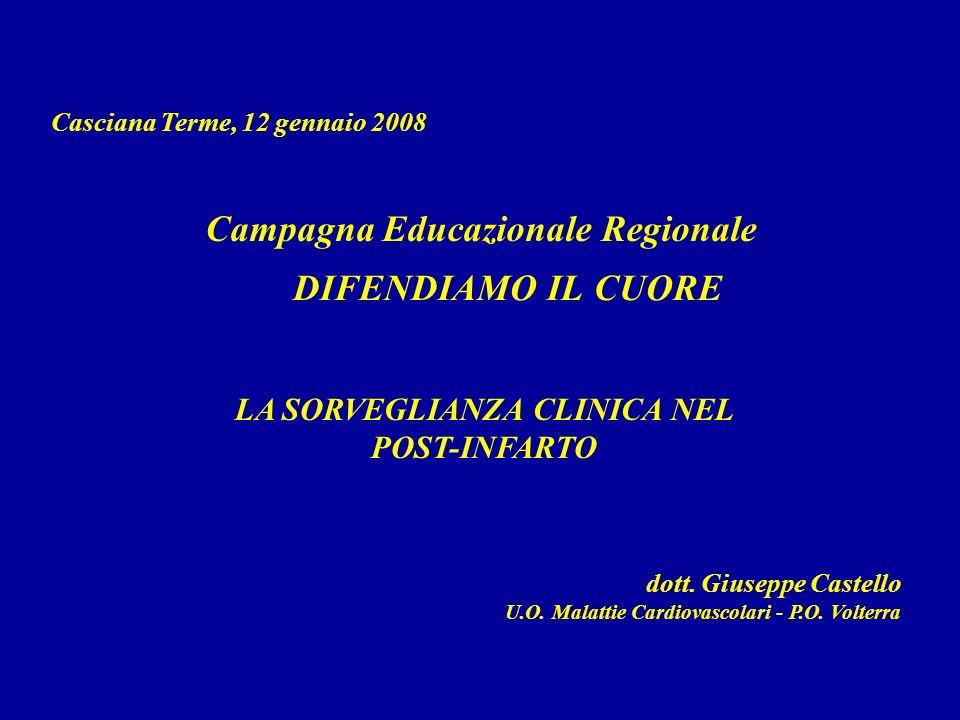DIFENDIAMO IL CUORE Casciana Terme, 12 gennaio 2008 dott. Giuseppe Castello U.O. Malattie Cardiovascolari - P.O. Volterra Campagna Educazionale Region