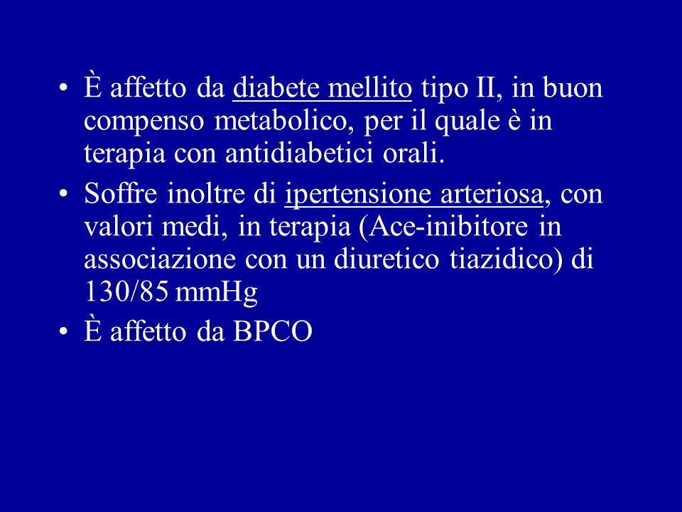È affetto da diabete mellito tipo II, in buon compenso metabolico, per il quale è in terapia con antidiabetici orali. Soffre inoltre di ipertensione a