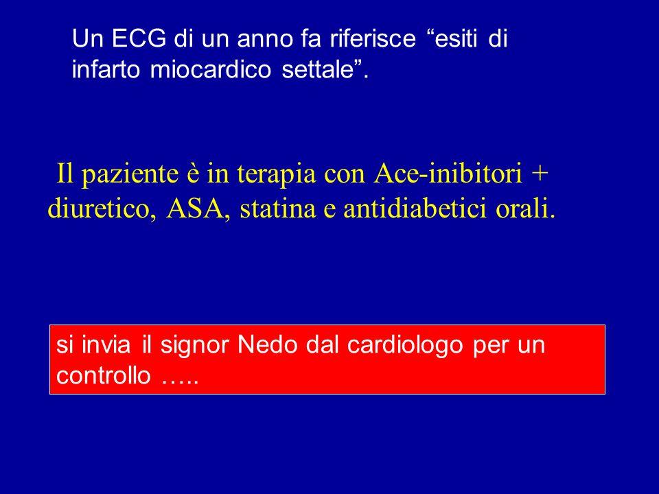 Un ECG di un anno fa riferisce esiti di infarto miocardico settale. si invia il signor Nedo dal cardiologo per un controllo ….. Il paziente è in terap