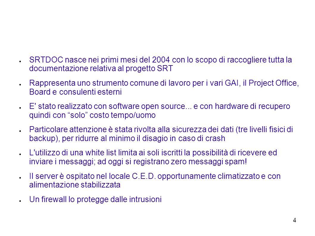 4 SRTDOC nasce nei primi mesi del 2004 con lo scopo di raccogliere tutta la documentazione relativa al progetto SRT Rappresenta uno strumento comune di lavoro per i vari GAI, il Project Office, Board e consulenti esterni E stato realizzato con software open source...