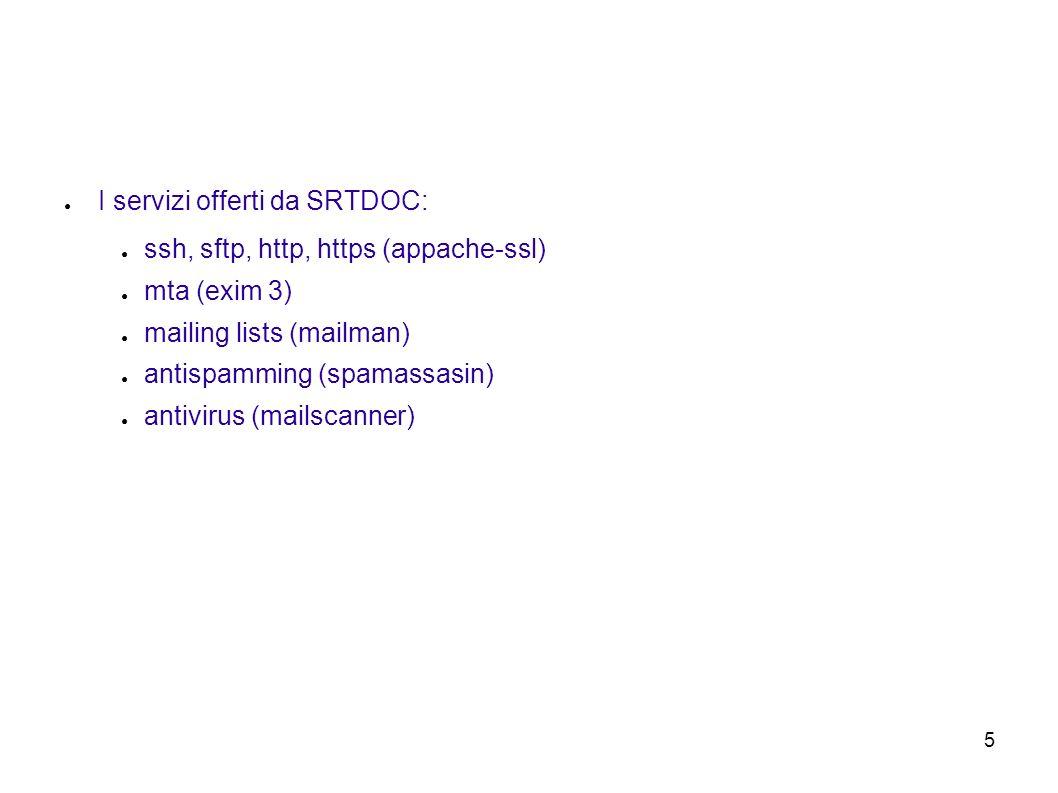 5 I servizi offerti da SRTDOC: ssh, sftp, http, https (appache-ssl) mta (exim 3) mailing lists (mailman) antispamming (spamassasin) antivirus (mailscanner)