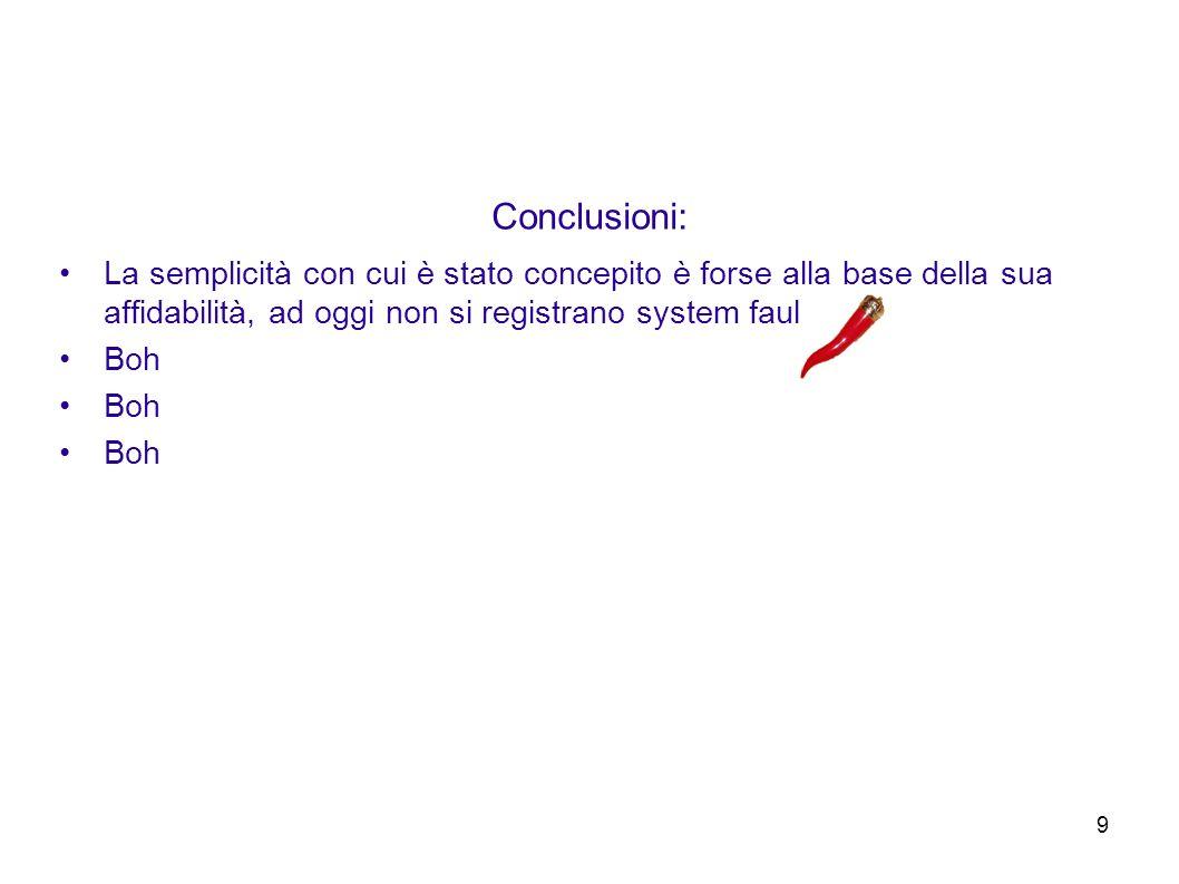 9 Conclusioni: La semplicità con cui è stato concepito è forse alla base della sua affidabilità, ad oggi non si registrano system faults Boh