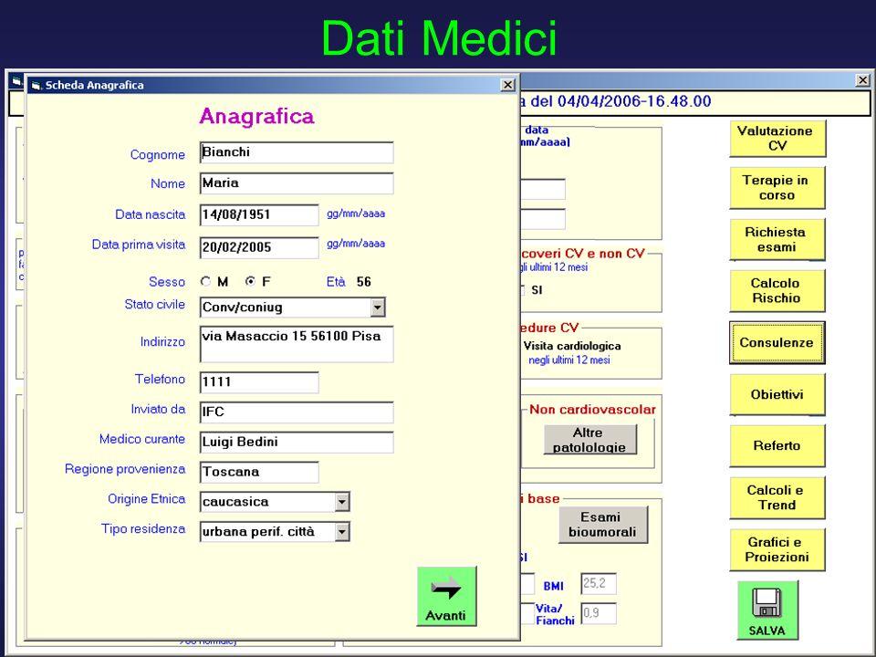 D. Franchi, G. Iervasi, R. Cristofani, A. Benassi - Istituto di Fisiologia Clinica CNR PISA 12 Dati Medici