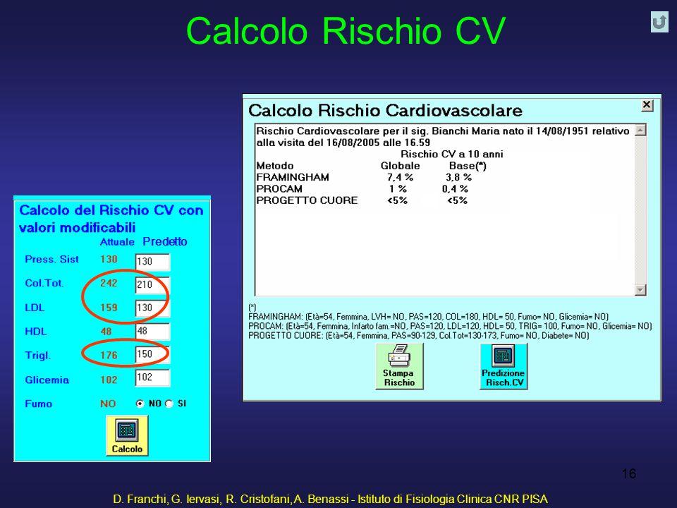 D. Franchi, G. Iervasi, R. Cristofani, A. Benassi - Istituto di Fisiologia Clinica CNR PISA 16 Calcolo Rischio CV Predetto
