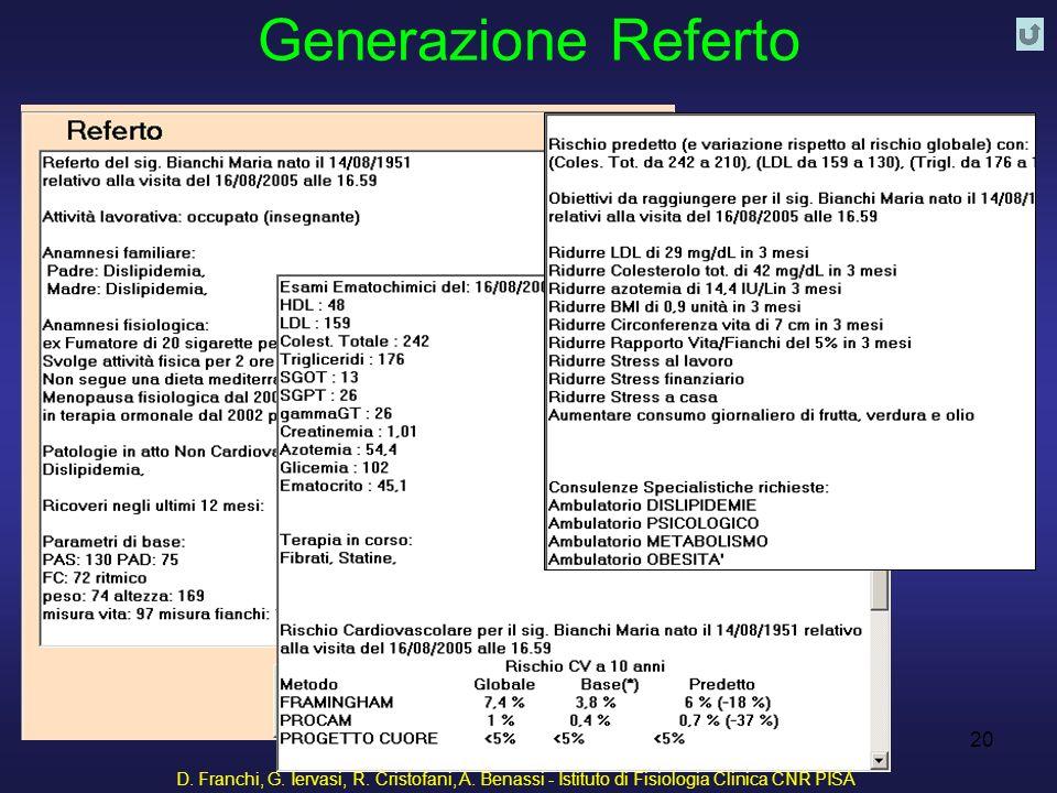 D. Franchi, G. Iervasi, R. Cristofani, A. Benassi - Istituto di Fisiologia Clinica CNR PISA 20 Generazione Referto