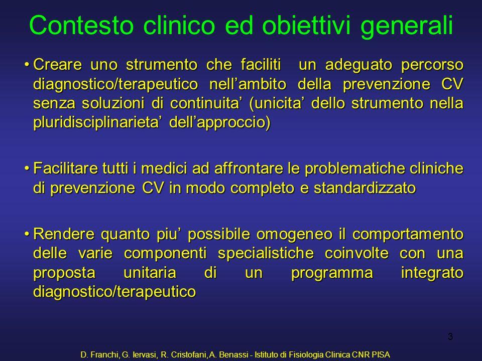 D. Franchi, G. Iervasi, R. Cristofani, A. Benassi - Istituto di Fisiologia Clinica CNR PISA 3 Contesto clinico ed obiettivi generali Creare uno strume