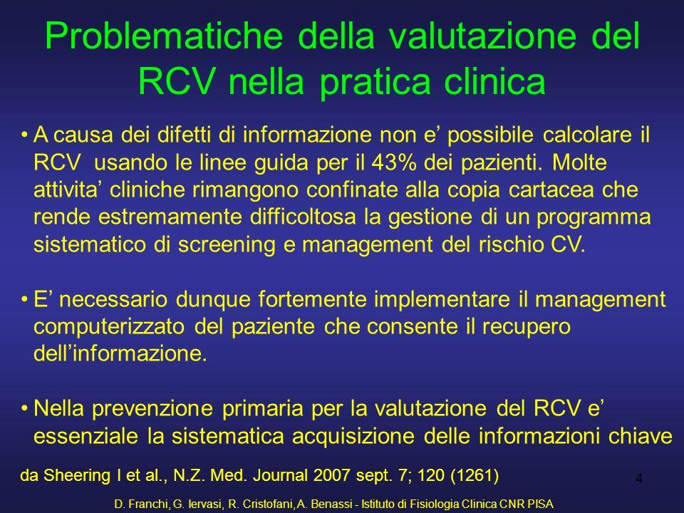 D. Franchi, G. Iervasi, R. Cristofani, A. Benassi - Istituto di Fisiologia Clinica CNR PISA 4 Problematiche della valutazione del RCV nella pratica cl