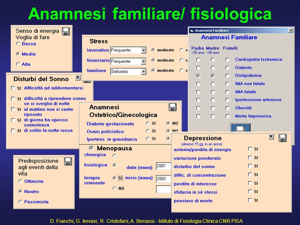 D. Franchi, G. Iervasi, R. Cristofani, A. Benassi - Istituto di Fisiologia Clinica CNR PISA 41 Anamnesi familiare/ fisiologica