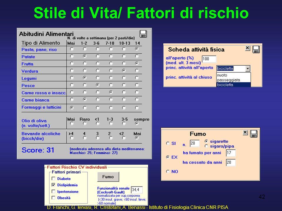 D. Franchi, G. Iervasi, R. Cristofani, A. Benassi - Istituto di Fisiologia Clinica CNR PISA 42 Stile di Vita/ Fattori di rischio