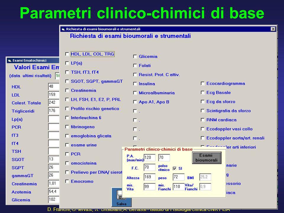 D. Franchi, G. Iervasi, R. Cristofani, A. Benassi - Istituto di Fisiologia Clinica CNR PISA 45 Parametri clinico-chimici di base