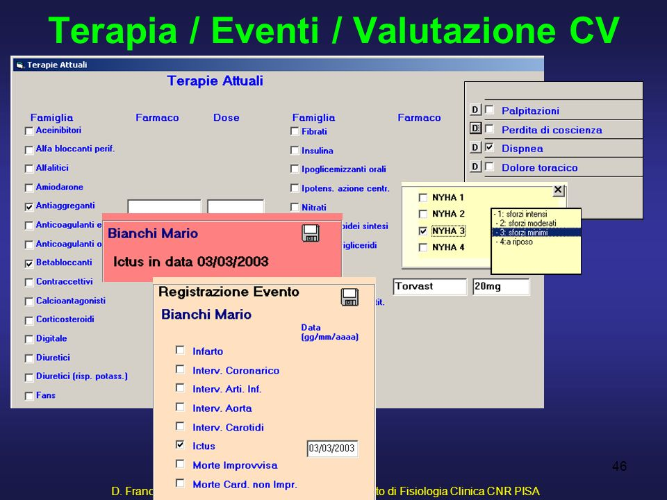 D. Franchi, G. Iervasi, R. Cristofani, A. Benassi - Istituto di Fisiologia Clinica CNR PISA 46 Terapia / Eventi / Valutazione CV
