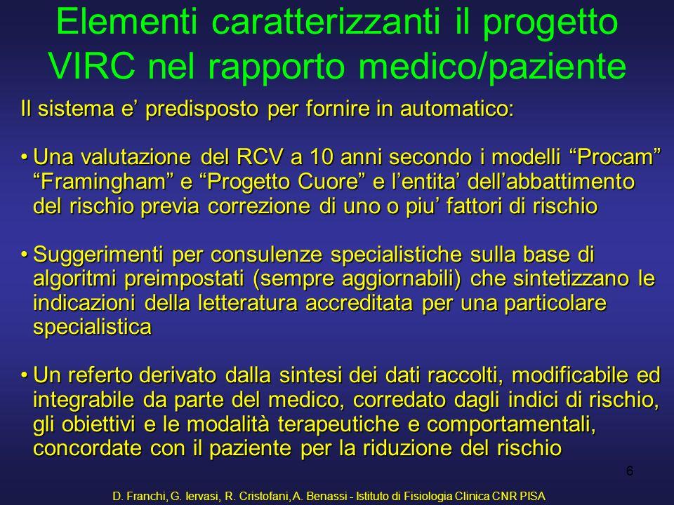 D. Franchi, G. Iervasi, R. Cristofani, A. Benassi - Istituto di Fisiologia Clinica CNR PISA 6 Il sistema e predisposto per fornire in automatico: Una