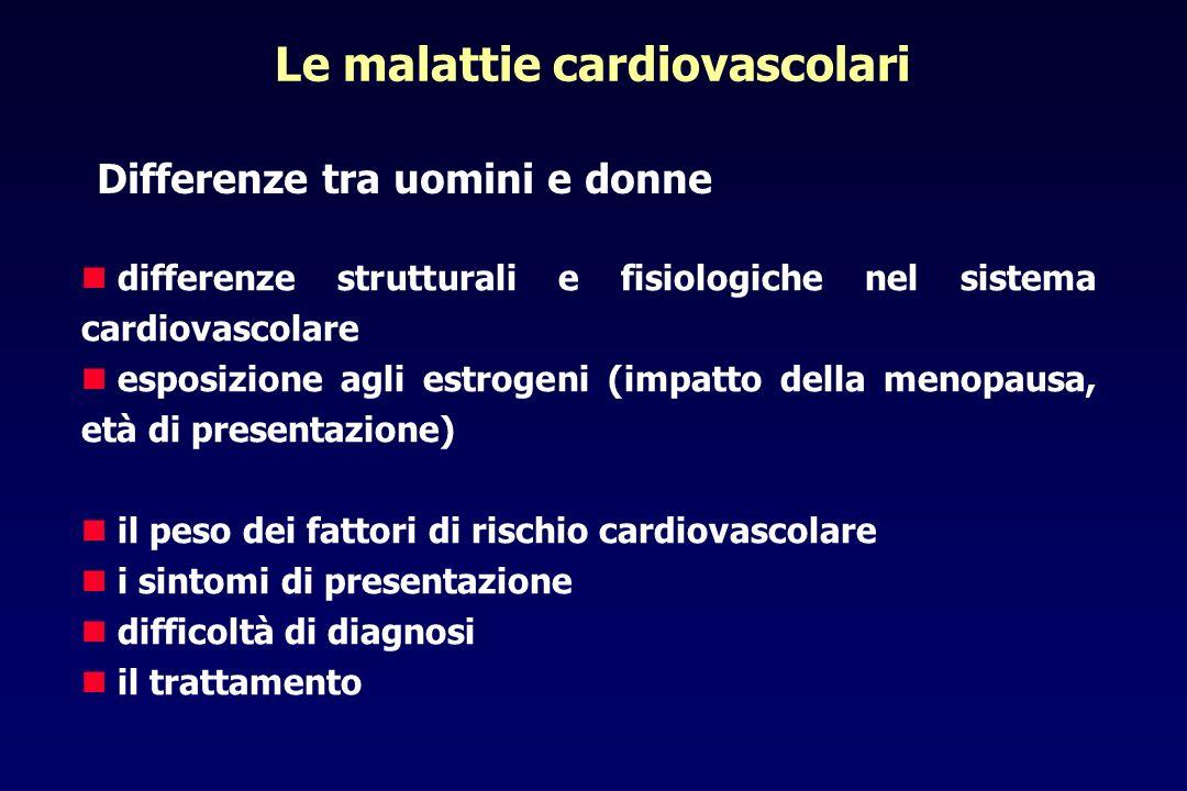 Differenze uomini-donne nel sistema cardiovascolare STRUTTURALI - dimensioni miocardiche minori - coronarie di calibro inferiore - fibre muscolari più piccole - volume ventricolare sinistro inferiore - tendenza alla ipertrofia concentrica,preservare funzione sistolica - migliore preservazione della struttura miocardica con minor perdita di massa muscolare con letà FUNZIONALI - differenti risultati fisiologici a stesse alterazioni genetiche - maggior tendenza al vasospasmo - frequenza cardiaca a riposo elevata - variabilità della frequenza cardiaca più elevata - frazione di eiezione a riposo più elevata - pressione telediastolica ventricolare sx inferiore - mancanza di incremento della FC da sforzo - aumento del volume telediastolico e dello stroke volume durante esercizio - tempo di riempimento ventricolare protodiastolico più lungo