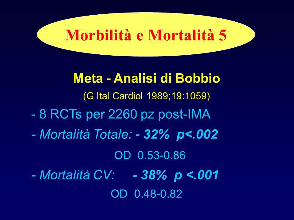 Morbilità e Mortalità 4 Meta - Analisi di OConnor (Circulation 1989;80:234) - 22 RCTs per 4.554 pz post-IMA - Mortalità Totale a 3a: - 20% OD 0.66-0.9