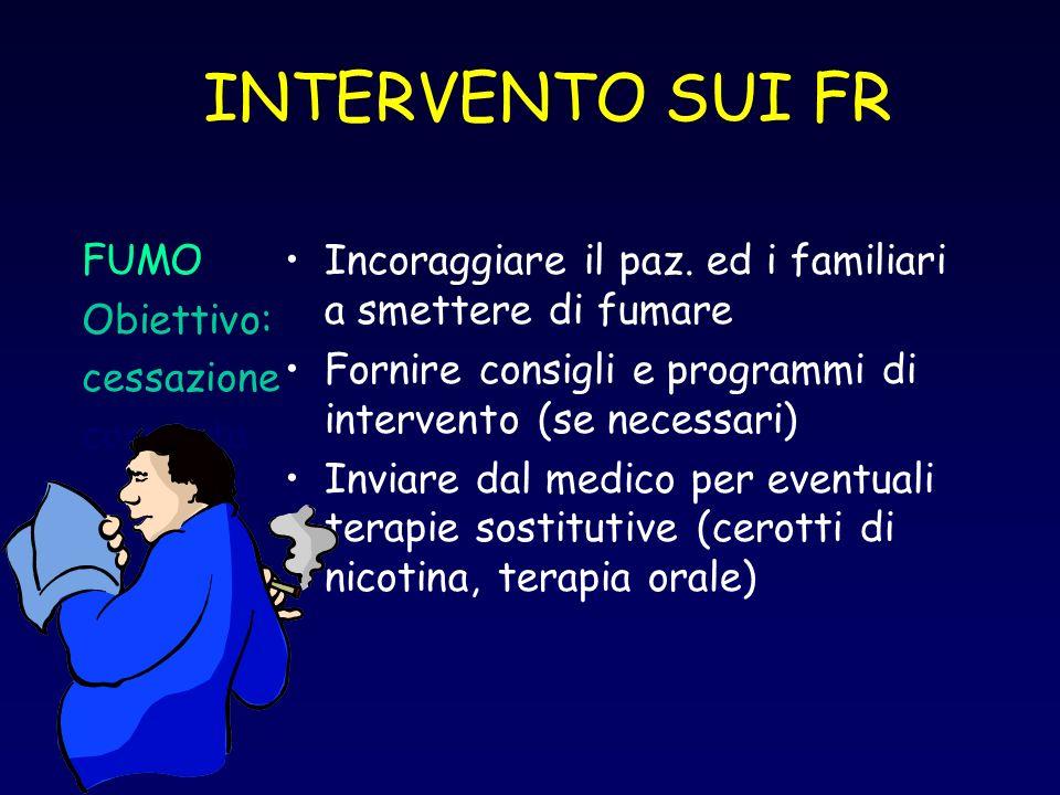 Prevenzione secondaria INTERVENTI informare il paziente sui F.R. aiutarlo a identificare i suoi F.R. insegnarli strategie per minimizzare gli effetti