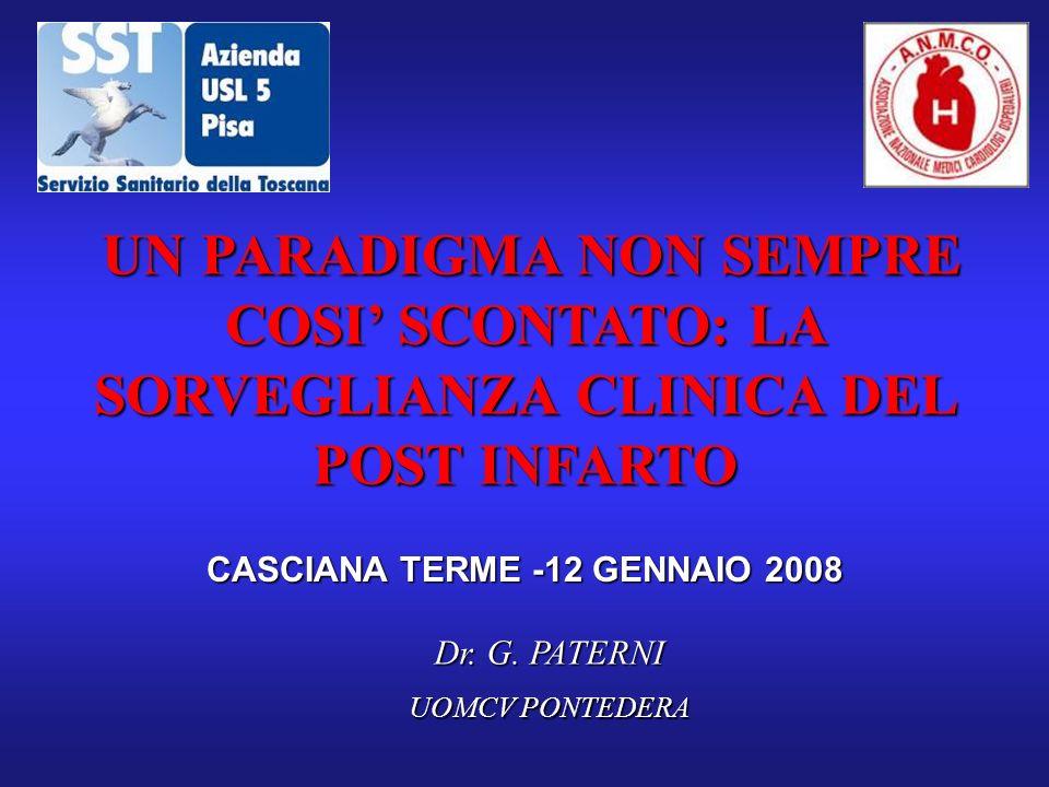 CASCIANA TERME -12 GENNAIO 2008 UN PARADIGMA NON SEMPRE COSI SCONTATO: LA SORVEGLIANZA CLINICA DEL POST INFARTO Dr. G. PATERNI UOMCV PONTEDERA