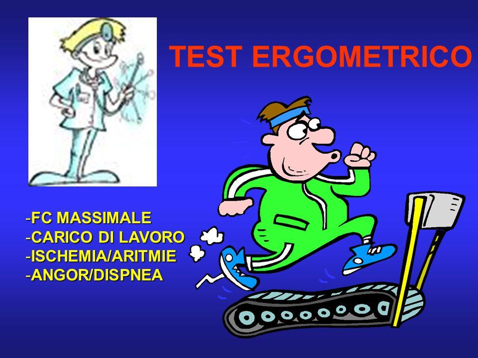 TEST ERGOMETRICO -FC MASSIMALE -CARICO DI LAVORO -ISCHEMIA/ARITMIE -ANGOR/DISPNEA