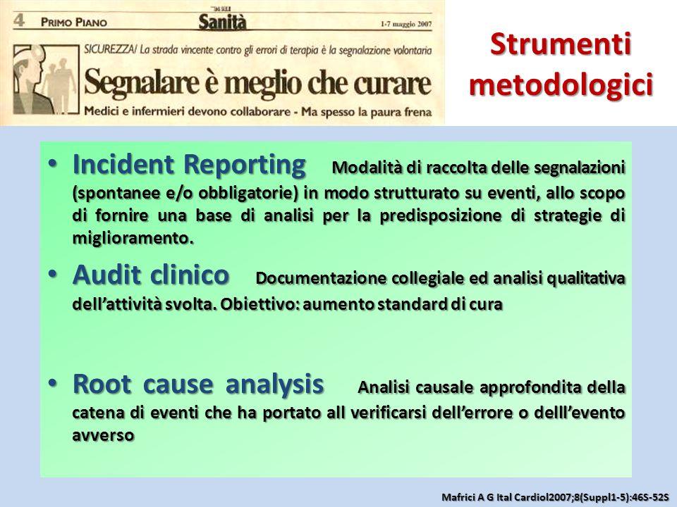 Strumenti metodologici Incident Reporting Modalità di raccolta delle segnalazioni (spontanee e/o obbligatorie) in modo strutturato su eventi, allo sco