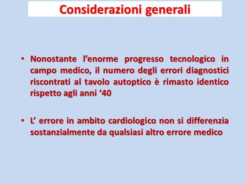 Considerazioni generali Nonostante lenorme progresso tecnologico in campo medico, il numero degli errori diagnostici riscontrati al tavolo autoptico è