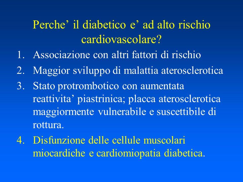 Perche il diabetico e ad alto rischio cardiovascolare? 1.Associazione con altri fattori di rischio 2.Maggior sviluppo di malattia aterosclerotica 3.St