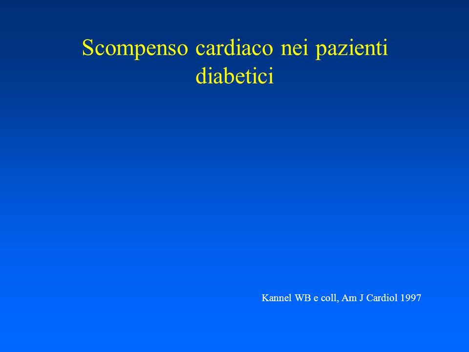 Scompenso cardiaco nei pazienti diabetici Kannel WB e coll, Am J Cardiol 1997