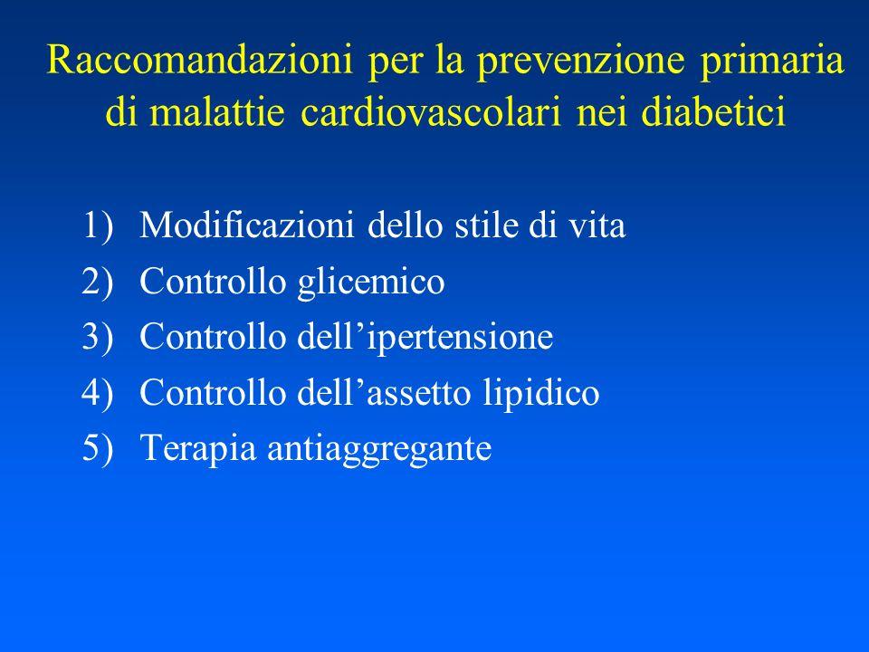 Raccomandazioni per la prevenzione primaria di malattie cardiovascolari nei diabetici 1)Modificazioni dello stile di vita 2)Controllo glicemico 3)Cont