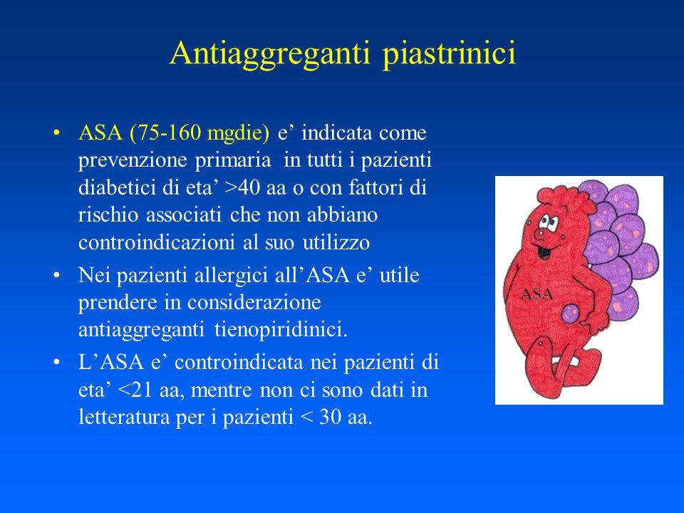 Antiaggreganti piastrinici ASA (75-160 mgdie) e indicata come prevenzione primaria in tutti i pazienti diabetici di eta >40 aa o con fattori di rischi