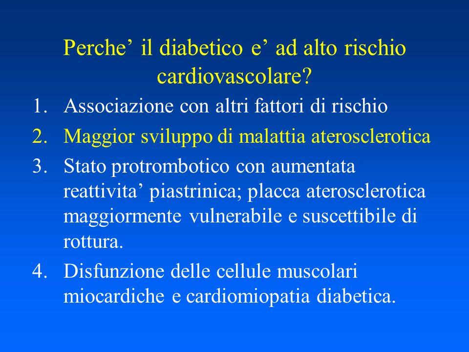 Raccomandazioni per la prevenzione primaria di malattie cardiovascolari nei diabetici 1)Modificazioni dello stile di vita 2)Controllo glicemico 3)Controllo dellipertensione 4)Controllo dellassetto lipidico 5)Terapia antiaggregante