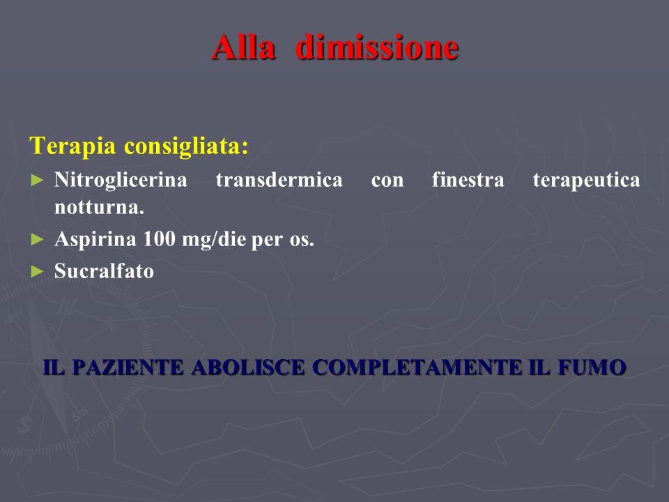 Alla dimissione Terapia consigliata: Nitroglicerina transdermica con finestra terapeutica notturna. Aspirina 100 mg/die per os. Sucralfato IL PAZIENTE