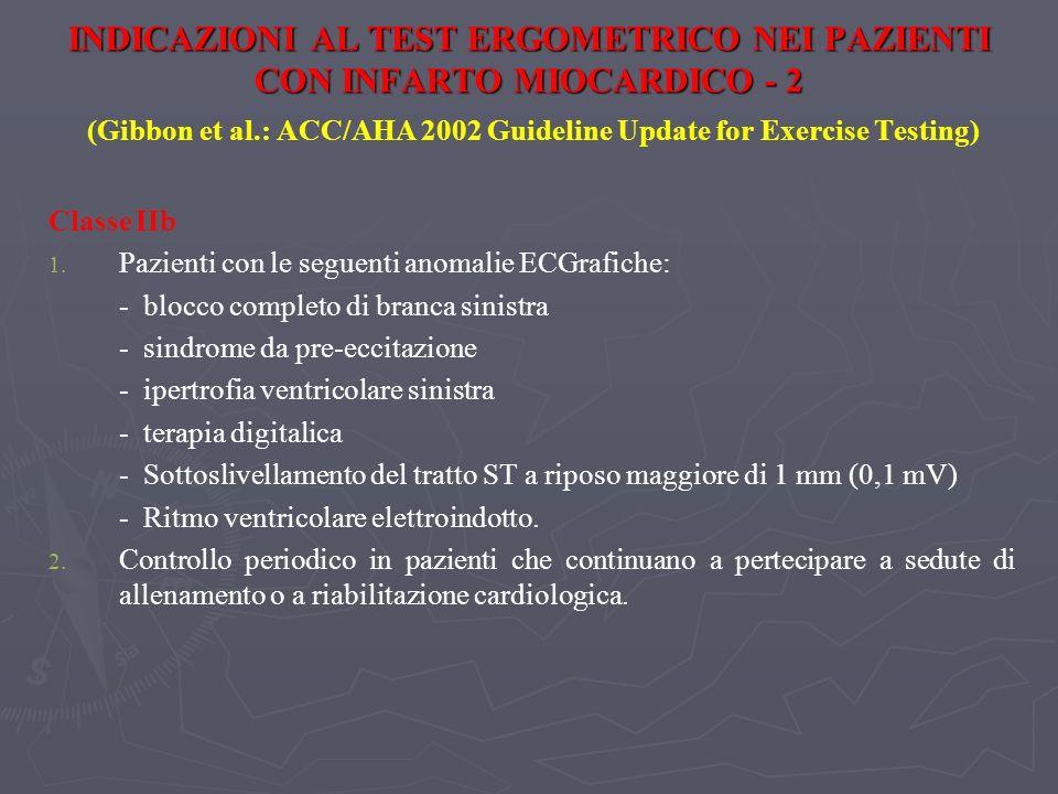INDICAZIONI AL TEST ERGOMETRICO NEI PAZIENTI CON INFARTO MIOCARDICO - 2 INDICAZIONI AL TEST ERGOMETRICO NEI PAZIENTI CON INFARTO MIOCARDICO - 2 (Gibbo