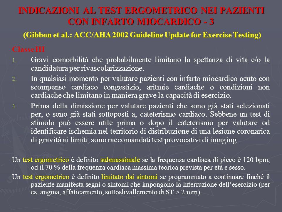 INDICAZIONI AL TEST ERGOMETRICO NEI PAZIENTI CON INFARTO MIOCARDICO - 3 INDICAZIONI AL TEST ERGOMETRICO NEI PAZIENTI CON INFARTO MIOCARDICO - 3 (Gibbo