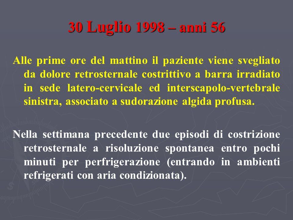 FOLLOW - UP DICEMBRE 2006 Colesterolemia totale 204 mg/dl Colesterolemia HDL 56 mg/dl Colesterolemia LDL 98 mg/dl Trigliceridemia 145 mg/dl ECOCARDIOGRAMMA: aortosclerosi, acinesia inferiore prossimale, funzione sistolica ventricolare sinistra globale normale (FE 60 %).