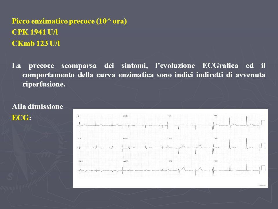 Alla dimissione Ecocardiogramma: rispetto al controllo precedente acinesia inferiore prossimale, miglioramento della funzione sistolica ventricolare sinistra globale (FE 60 %) Test ergometrico (in terapia con nitroderivati): protocollo 25 W x 3, interrotto al carico di 100 Watt x 1 per esaurimento muscolare, DP max18000, non sintomi, non aritmie.