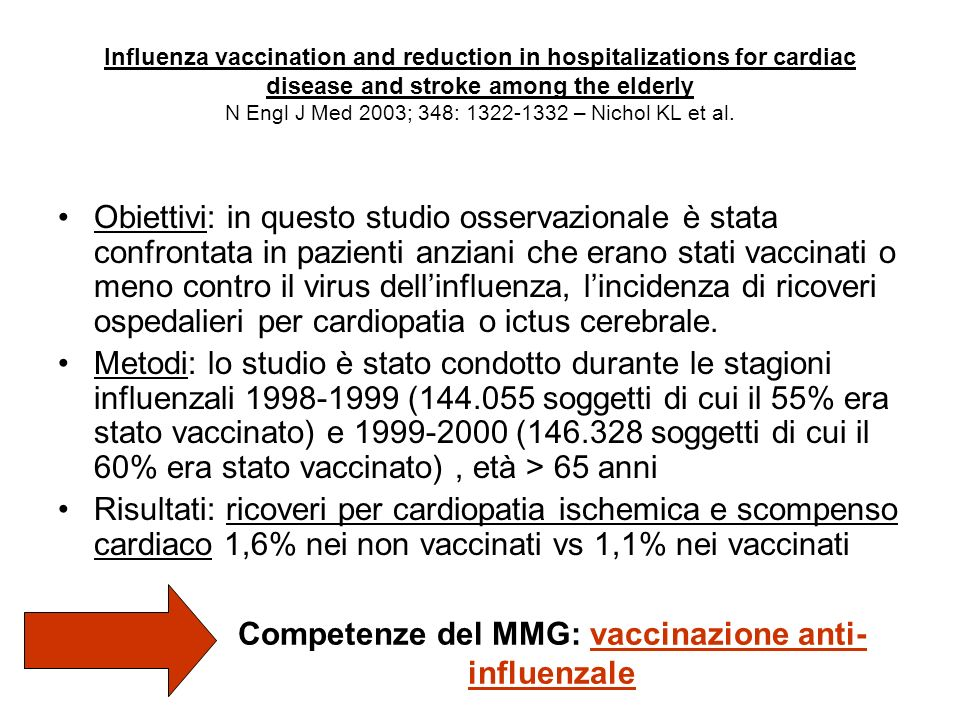 Influenza vaccination and reduction in hospitalizations for cardiac disease and stroke among the elderly N Engl J Med 2003; 348: 1322-1332 – Nichol KL