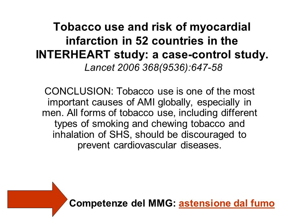 Tobacco use and risk of myocardial infarction in 52 countries in the INTERHEART study: a case-control study. Lancet 2006 368(9536):647-58 CONCLUSION: