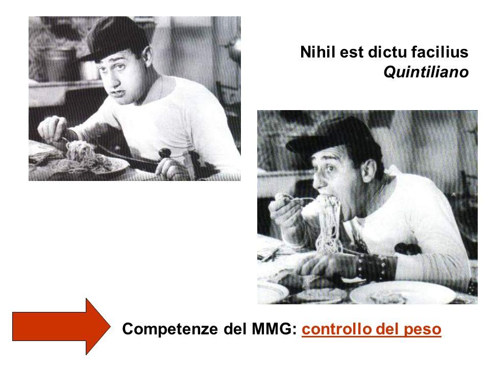 Nihil est dictu facilius Quintiliano Competenze del MMG: controllo del peso