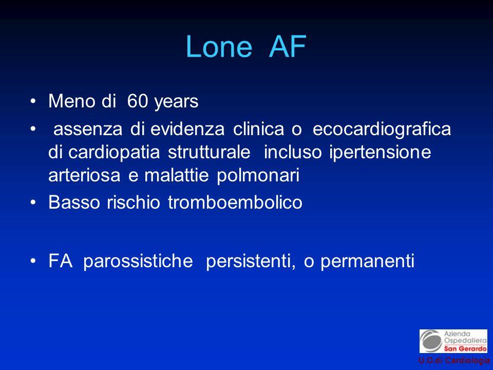 U.O.di Cardiologia Lone AF Meno di 60 years assenza di evidenza clinica o ecocardiografica di cardiopatia strutturale incluso ipertensione arteriosa e malattie polmonari Basso rischio tromboembolico FA parossistiche persistenti, o permanenti