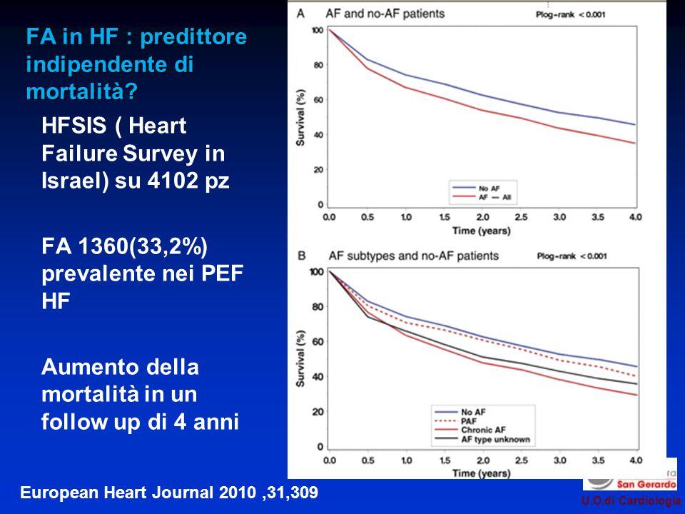 U.O.di Cardiologia : predittore indipendente di mortalità.