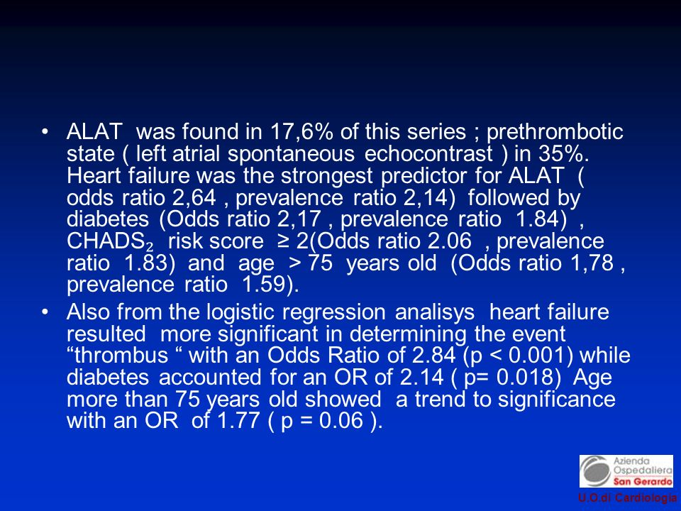 U.O.di Cardiologia ALAT was found in 17,6% of this series ; prethrombotic state ( left atrial spontaneous echocontrast ) in 35%. Heart failure was the