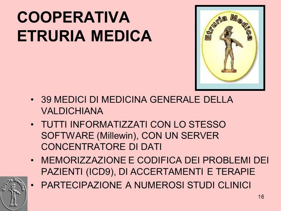 16 COOPERATIVA ETRURIA MEDICA 39 MEDICI DI MEDICINA GENERALE DELLA VALDICHIANA TUTTI INFORMATIZZATI CON LO STESSO SOFTWARE (Millewin), CON UN SERVER C