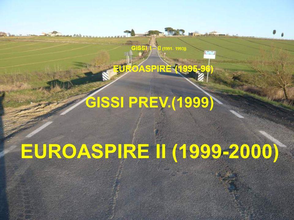 2 GISSI I – II (1991- 1993)) GISSI PREV.(1999) EUROASPIRE (1995-96) EUROASPIRE II (1999-2000)