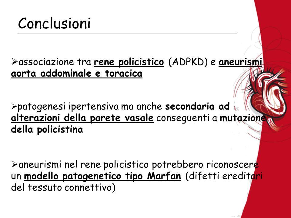 Conclusioni associazione tra rene policistico (ADPKD) e aneurismi aorta addominale e toracica patogenesi ipertensiva ma anche secondaria ad alterazion