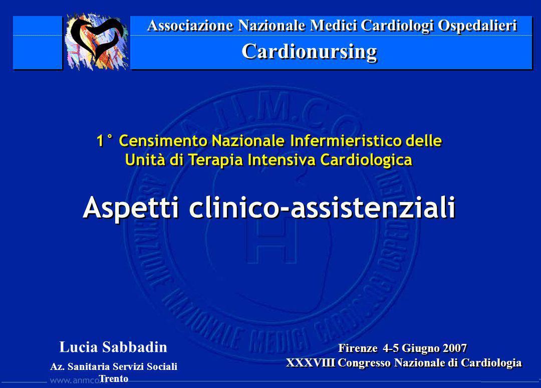 Associazione Nazionale Medici Cardiologi Ospedalieri Cardionursing 1° Censimento Nazionale Infermieristico delle Unità di Terapia Intensiva Cardiologi