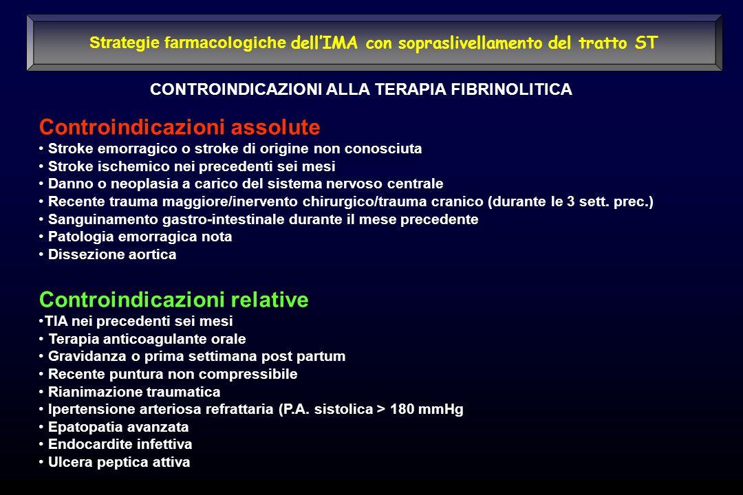 Controindicazioni assolute Stroke emorragico o stroke di origine non conosciuta Stroke ischemico nei precedenti sei mesi Danno o neoplasia a carico de